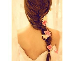 hair, flowers, and pretty image