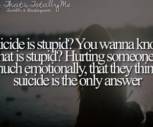 suicide, answer, and stupid image