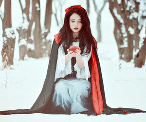 snow white, apple, and girl image