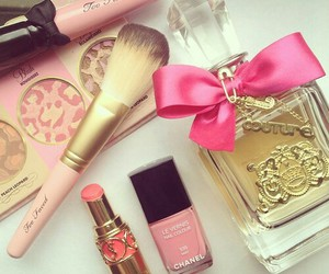 pink, makeup, and perfume image