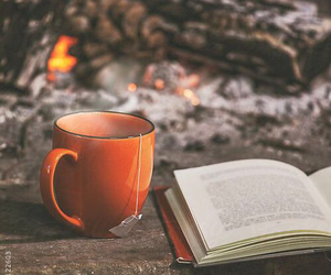 book, tea, and autumn image