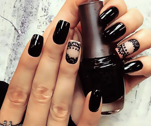 black, classy, and nails image