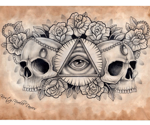skull, flowers, and illuminati image