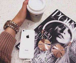 iphone, coffee, and magazine image