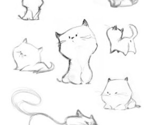 drawing, puppy, and cat image