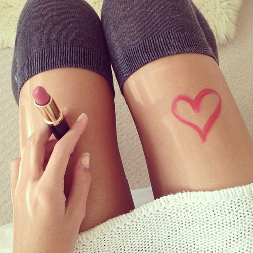 heart, lipstick, and legs image
