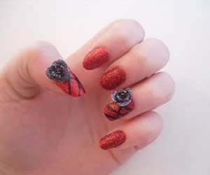nail art, roses, and scissornails image