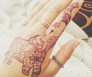 tattoo, henna, and elephant image