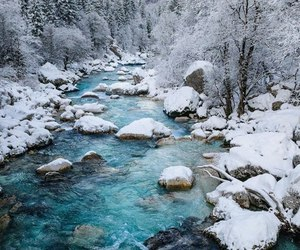 snow, river, and winter image