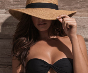 beautiful, hat, and swimsuit image