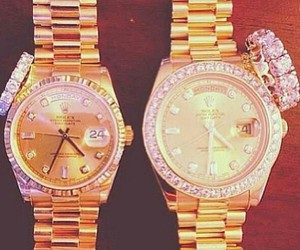 gold, watch, and rolex image