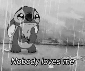 stitch, sad, and rain image