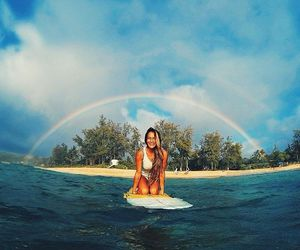 girl, summer, and rainbow image