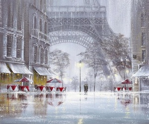 paris, rain, and eiffel tower image