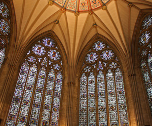 cathedral, stained glass, and york england image