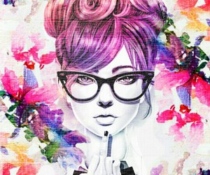 background, girl, and colorful image
