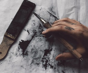 art, hand, and black image