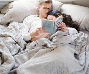 adorable, couple, and book image