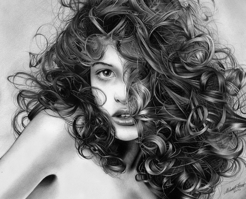 playful curls pencil drawing by regius on we heart it