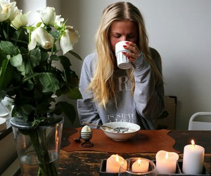 girl, blonde, and candles image