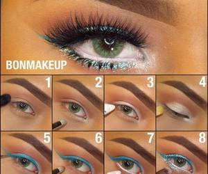 eyeshadow, green eyes, and tutorial image