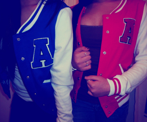 girl, jacket, and blue image