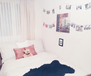 bed, bedroom, and confortable image