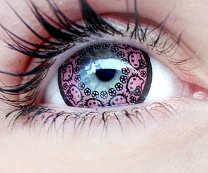 hello kitty, eye, and pink image