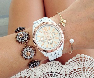 beautiful, bracelets, and pearl image