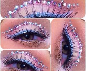 crystal, eye makeup, and lashes image