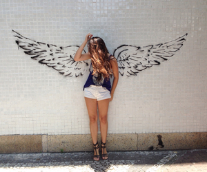girl, angel, and wings image