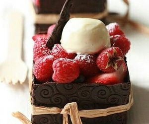 chocolate, food, and raspberry image