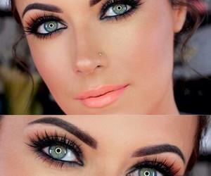 blush, green eyes, and bronzer image