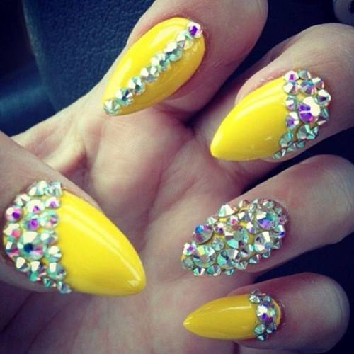 nails, yellow, and diamond image