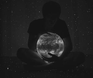 moon, stars, and boy image