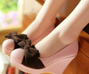 bow, heel, and brown image