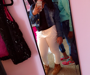 jean jacket, pretty girls, and white pants image