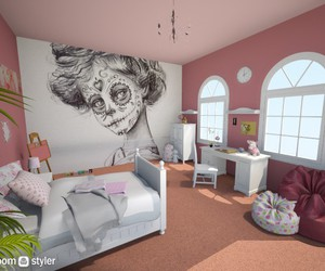bedroom, draw, and girl image