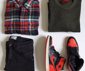 mens clothes, plaid shirt, and nike sneakers image