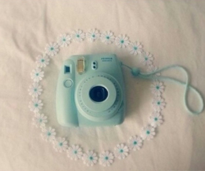 camera, flowers, and blue image