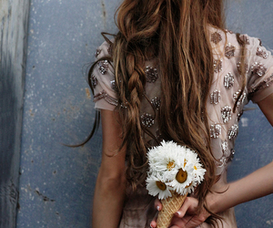 flowers, hair, and dress image
