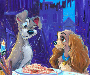 disney, art, and lady and the tramp image