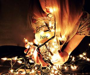 hope, light, and girl image