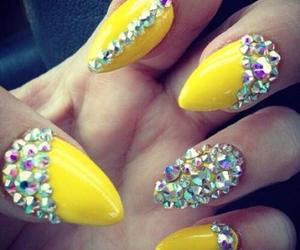 nails, rhinestones, and yellow image