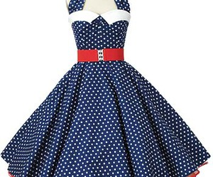 50's, blue and white, and polka dots image