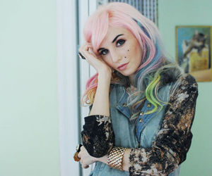 colorful hair, fashion, and studds image