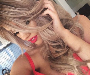 blonde hair, hair, and red lipstick image