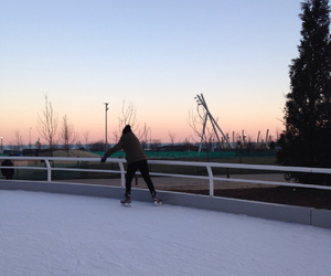 cold, ice skating, and sunset image