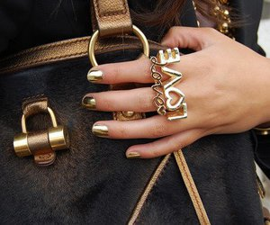 love, fashion, and gold image