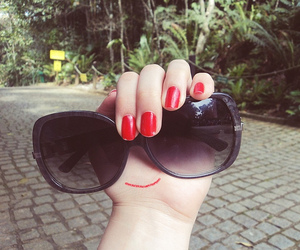 emoticon, happy, and red nails image